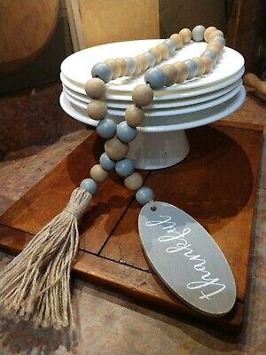 "Farmhouse /'Thankful/""/' Wooden Beads Tan Dusty Blue//Grey Garland Tassel Decor"
