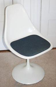 Charmant Image Is Loading Vintage Modern White Tulip Chair Fiberglass Swivel Similar
