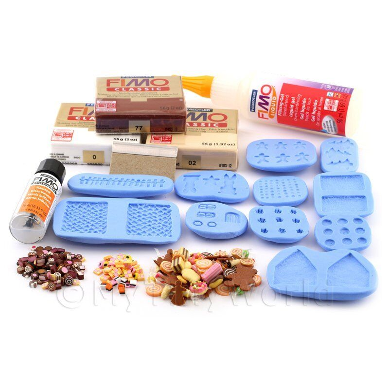 Dolls House Miniature Gingerbread Scene Kit With Silicone Mould