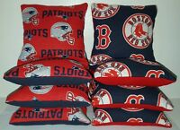 Set Of 8 All Weather Patriots/boston Red Sox Cornhole Bags Free Shipping