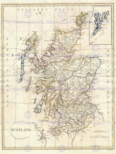 1799 CLEMENT CRUTTWELL MAP SCOTLAND VINTAGE POSTER ART PRINT 12x16 inch 2882PY