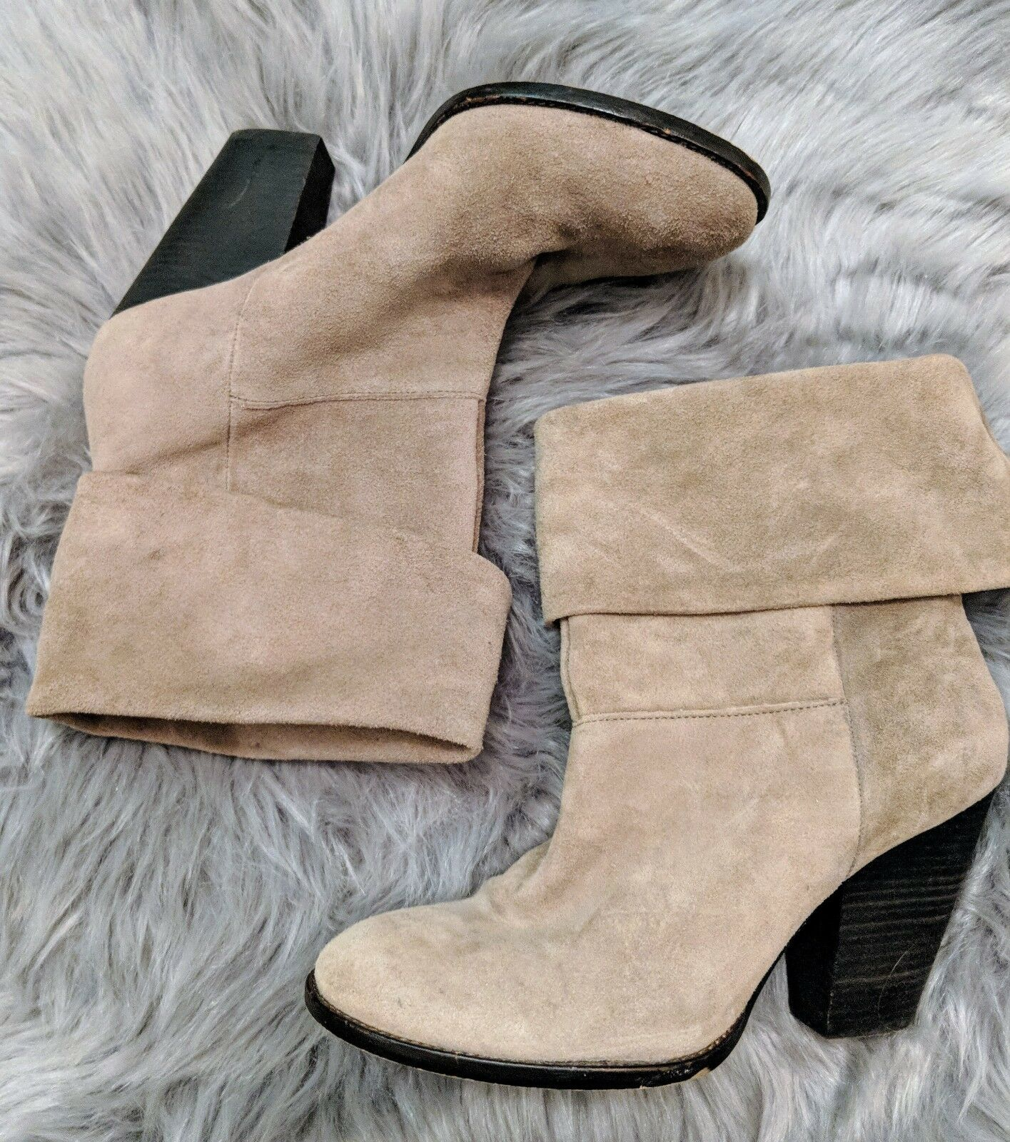 Vince Camuto womens 8.5 taupe tan brown suede leather slouc ankle boots NEW  155