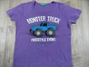 BENETTON schönes T-Shirt Monster Truck lila Gr. 92? TOP  DD1017