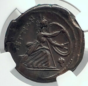 BRETTII-in-BRUTTIUM-Authentic-Ancient-211BC-Greek-Coin-ARES-HERA-NGC-i77353