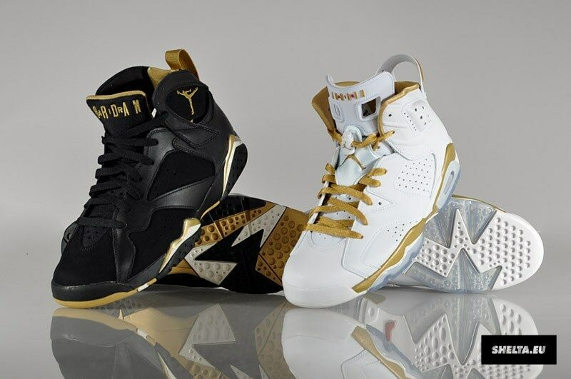 NEW IN BOX  MENS AIR JORDAN 6 & 7 Retro golden Moments Pack 535357-935 SIZE 12