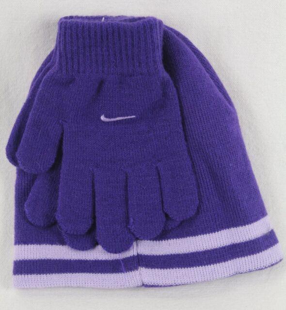 281431e697ade5 Nike Boys Swoosh Beanie Hat Gloves 2PC Set Purple Reversible Size 8/20 NWT