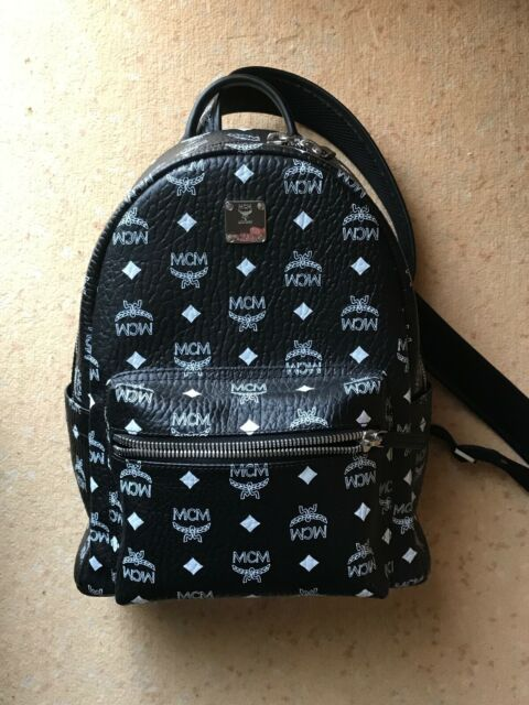 MCM Mens Stark Medium Side Stud Backpack Black One Size