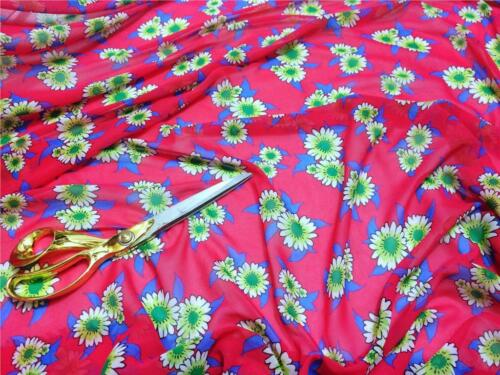 *NEW*Smooth Cerise Chiffon Floral-Daisies Print Dress//Craft Fabric*FREE P/&P*