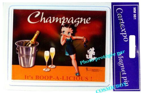 Magnet BETTY BOOP CHAMPAGNE aimant CARTEXPO plaque en métal pub sceau coupes à