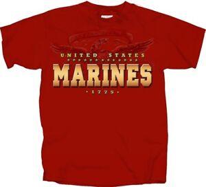 U-S-Marine-Corps-Marines-USMC-Golden-Block-RED-Adult-Shirt