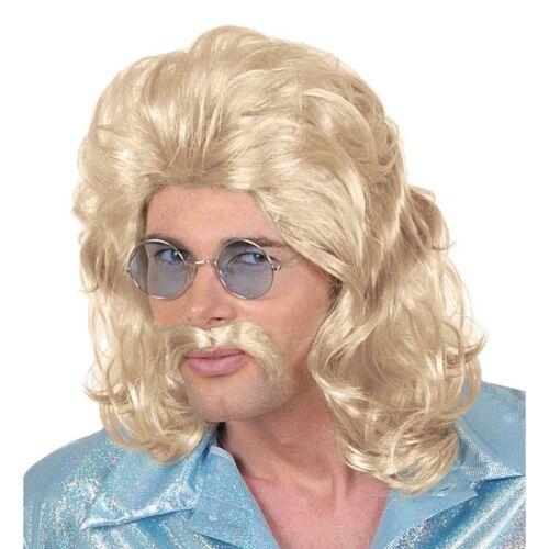 70er JAHRE PERÜCKE /& SCHNAUZER # 80er 90er Night Fever Disco Kostüm Hippie 0807