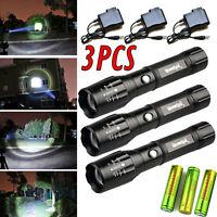 3pack:tactical 8000lm Cree Xm-l T6 18650 Led Flashlight Power + Battery +charger