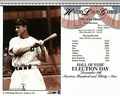 Lou Gehrig New York Yankees Baseball Hall of Fame 8x10 Glossy Color Photo