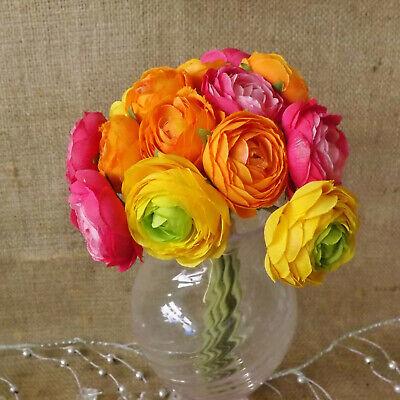 "Artificial silk flowers Ranunculus posy bunch Orange Yellow Cream 10 stems 9/"""