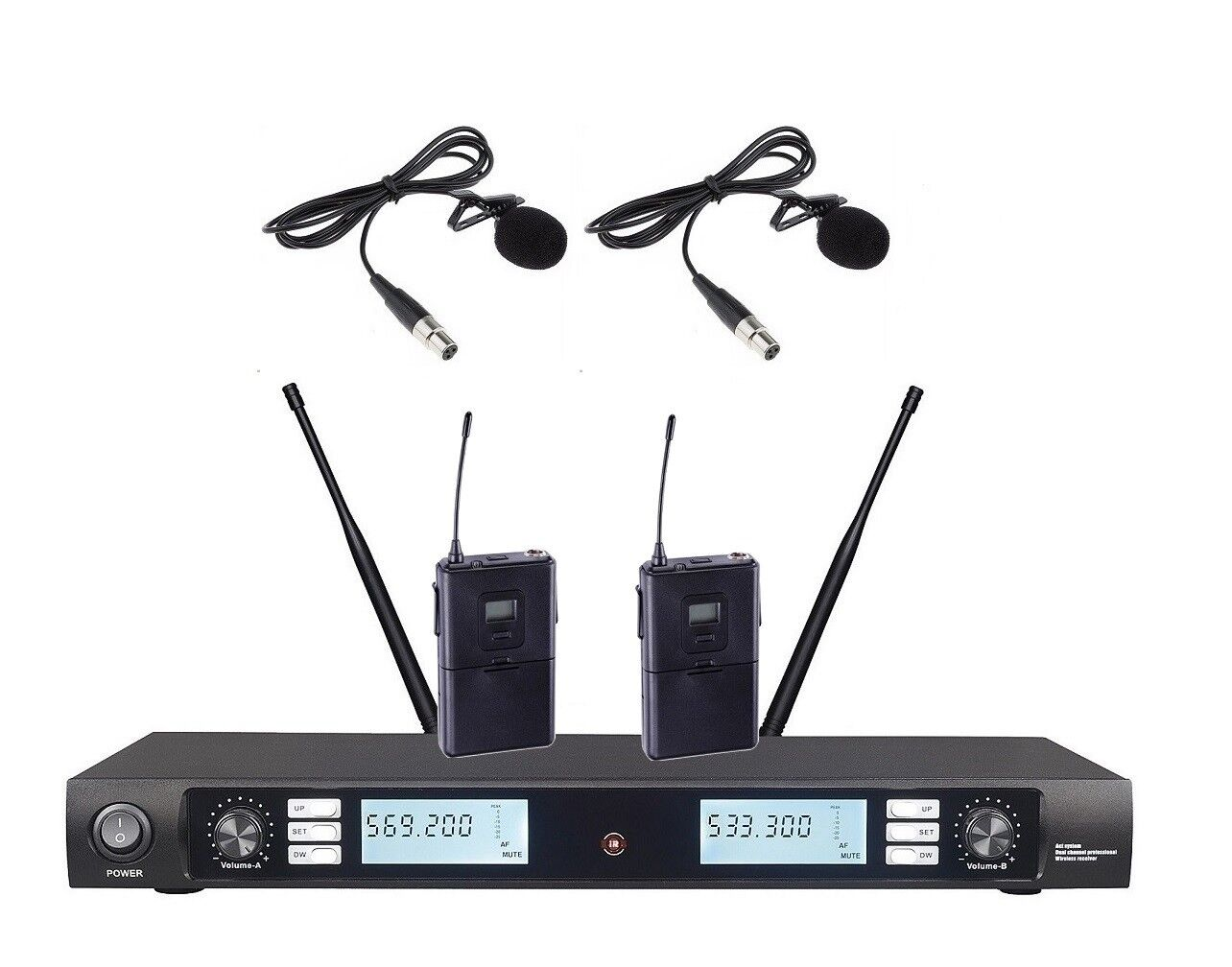UHF Wireless Microphone Karaoke Professional 2 Lapel Microphone System For Shure