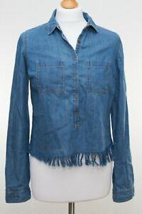 Fat-face-Denim-Cropped-Casual-Boho-Shirt-Blouse-Size-8-UK-Snap-Buttons-Tassel