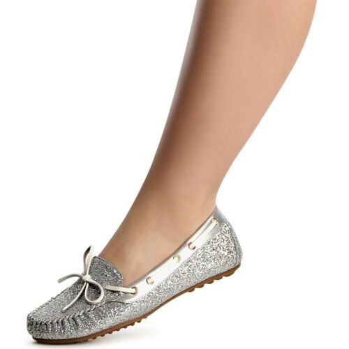 Femmes slip on slipper Ballerine Basses Mocassins paillettes