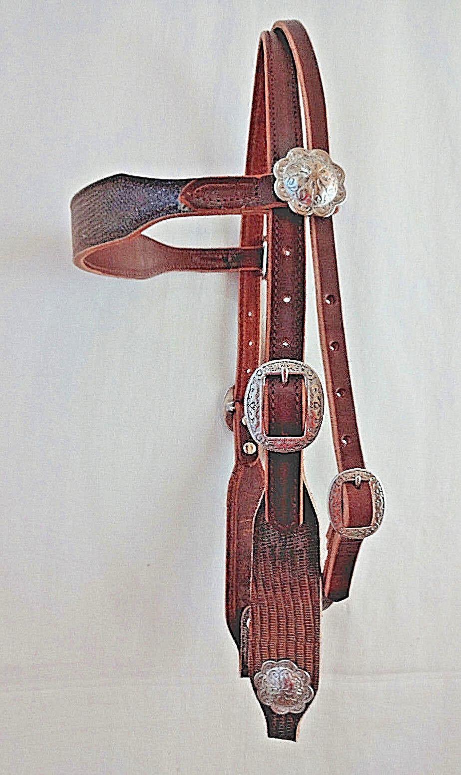 Glitter Lizard Print Headstall Harness Leather Jeremiah Watt Conchos Horse Tack
