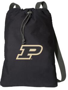 Image is loading Purdue-Drawstring-Backpacks -COMFORTABLE-COTTON-Bag-WIDE-STRAPS- 144bfa58d910