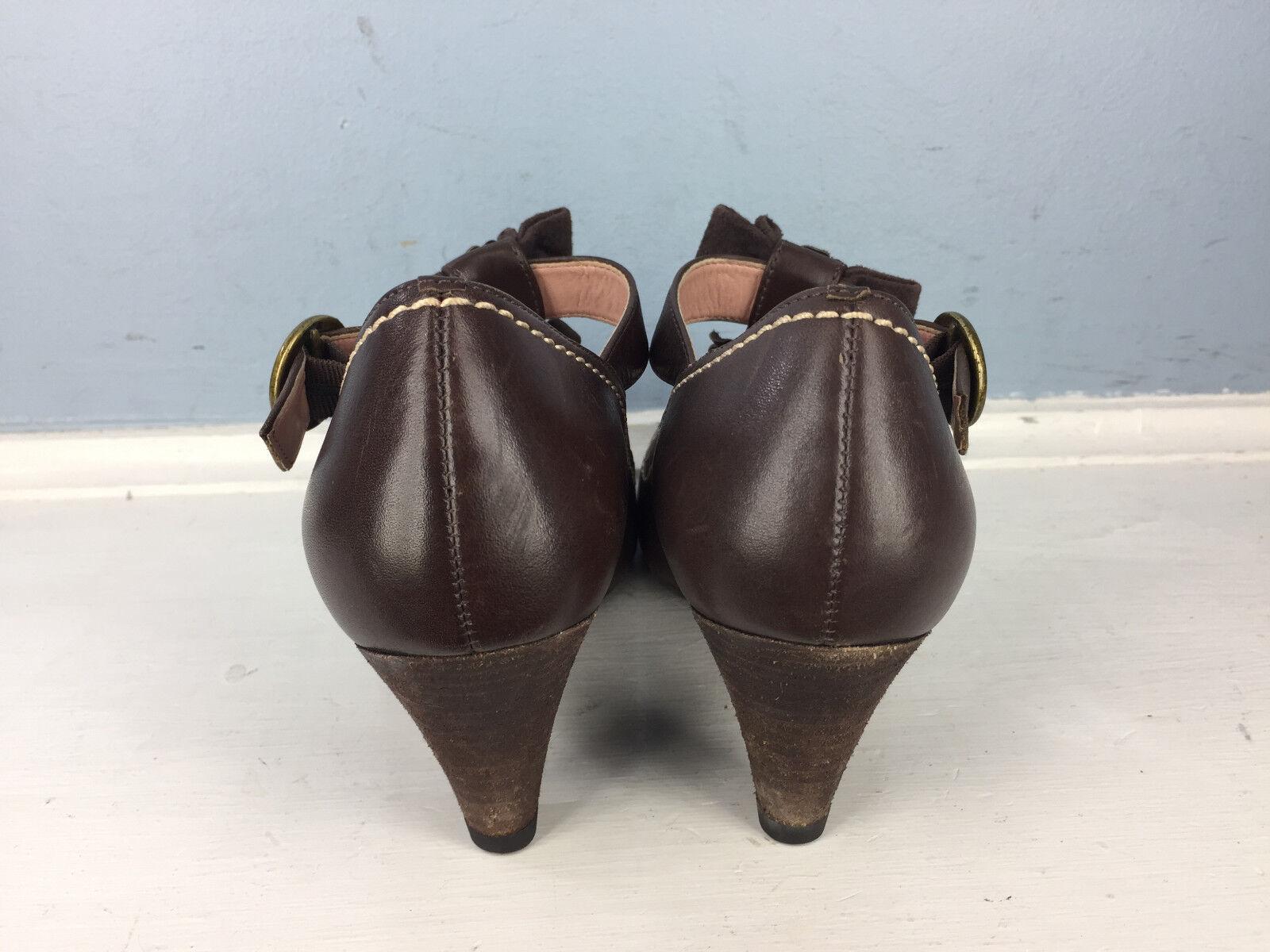 Anthropologie Miss Albright Rensselaer Größe T-Strap Braun Leder Heels Größe Rensselaer 36 5.5 6 0fa437