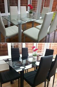 Image Is Loading STUNNING GLASS DINING TABLE SET AND WITH 4