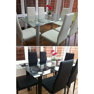 STUNNING GLASS DINING TABLE SET AND WITH 4 OR 6 FAUX LEATHER CHAIRS WHITE BLACK