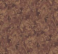 Wallpaper Designer Metallic Gold Jacobean Fruit Leaf Vine on Copper Rust Faux