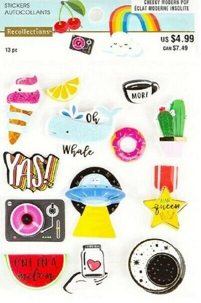RECOLLECTIONS CHEEKY MODERN POP YOU ARE RAD PUFFY STICKERS BNIP *NEW* 536185