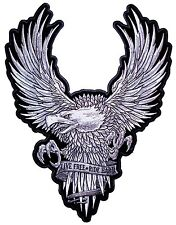 Large Live Free Ride Hard Silver American Bald Eagle Embroidered Biker Patch