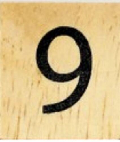 25 CENTS PER TILE INDIVIDUAL WOOD SCRABBLE TILES NUMBER 9 nine