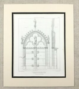 1874-Notre-Dame-Cathedral-Rouen-France-Gothic-Architectural-Antique-Print