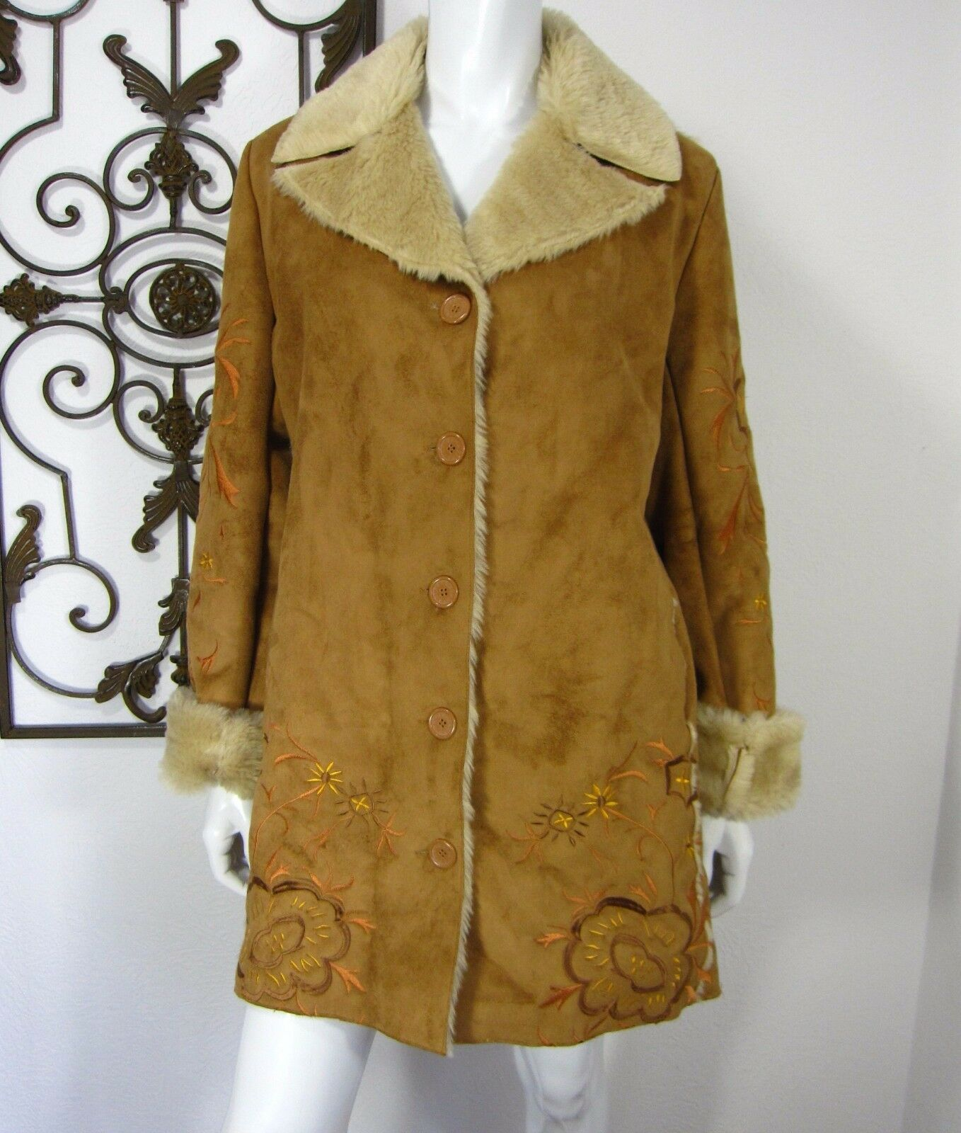 AZIZ Long Sleeve Button Down Basic Coat Size L Large Khaki