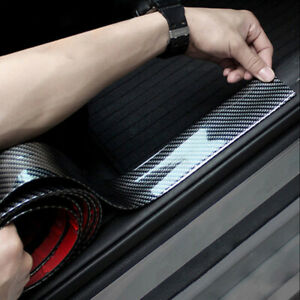 3CM-1M-Car-Carbon-Fiber-Rubber-Guard-Edge-Strip-Door-Sill-Protector-Accessories