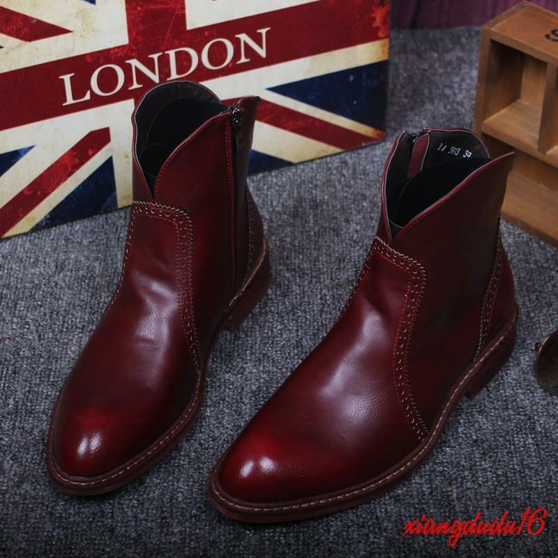 Retro Mens Leather Side Zipper Carved Chelsea Casual Ankle Boots Formal Shoes