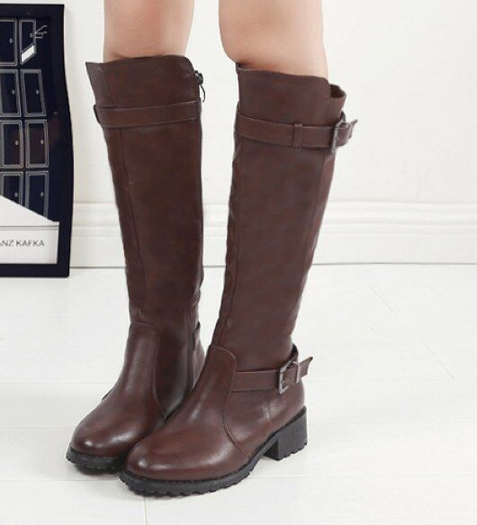 botas stivaletti bassi zapatos anfibi 4 cm cm cm marrón pelle sintetica 9362 1d7f28