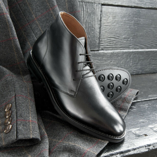 1f7066ac9d66 Samuel Windsor Mens Black Leather Boots Lace Up Shoe Rubber Sole UK Sizes  5-14