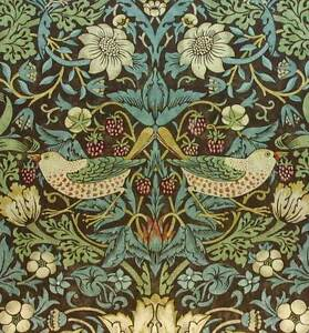 Image Is Loading William Morris Vintage Wallpaper Strawberry Thief Chocolate Slate