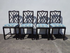 Image Is Loading Dining Chairs Chinese Chippendale Faux Bamboo Boho Chic