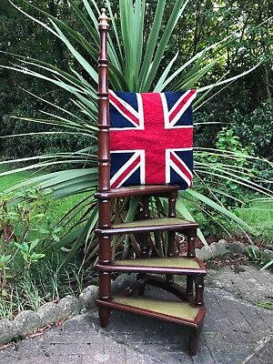 Antique-Regency-Style-Mahogany-Library-Spiral-4-Steps-Ladder-Stand-Xmas-Treat