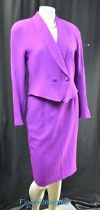 Gianni-sport-pencil-skirt-suit-button-blazer-2pc-jacket-crepe-wool-4-S-NEW-VTG
