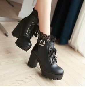 1c83edec615 Womens Lolita Lace Buckle Strap Gothic Block High Heels Ankle Boots ...