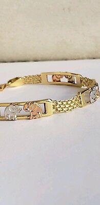 14k Yellow Gold Elephant Bracelet