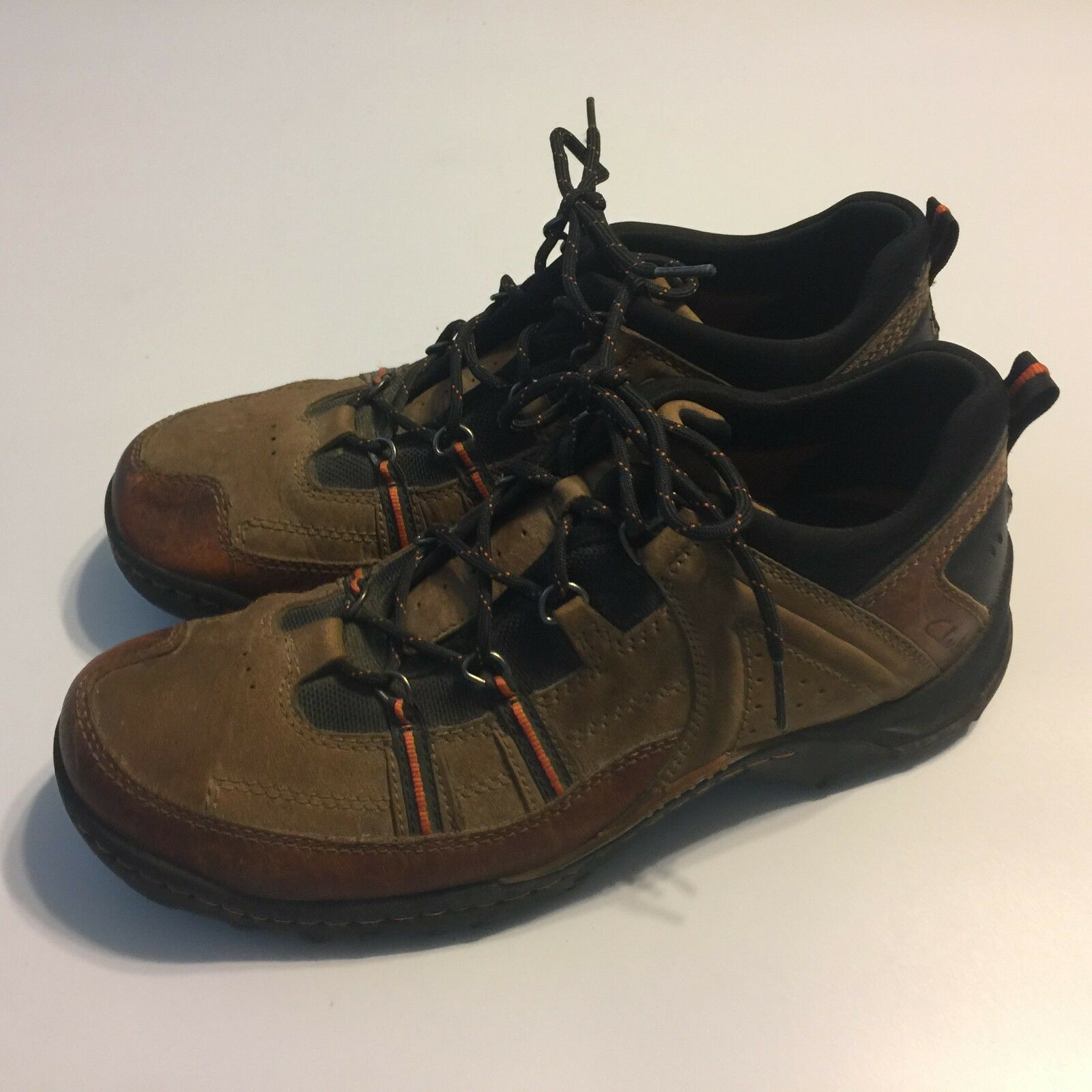 CLARKS 73191 MENS Hiking Trail Walking Brown Leather shoes 9.5 M Lace Up
