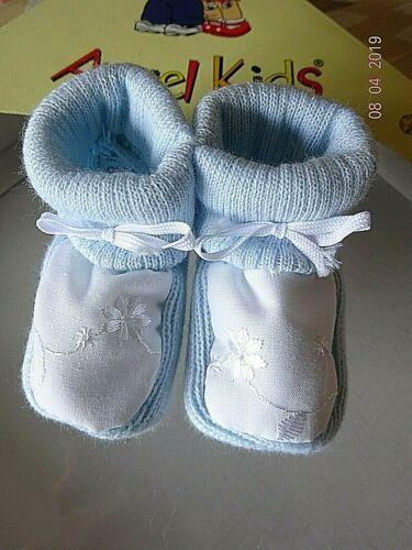 Baby Booties//Bootee Blue Cream Boy//Girl Bow Flower Design Socks