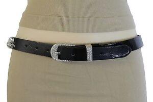 New Women Belt Black Faux Leather Silver Metal Buckle Red Silver Studs S M L XL
