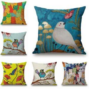 Pillow-Case-Car-Cotton-Linen-Birds-Home-Decor-Oil-Paintings-Cushion-Cover-Sofa