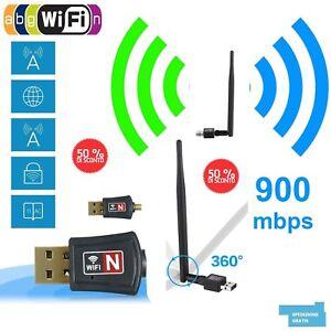 ADATTATORE-USB-PC-WIFI-900-MBPS-ANTENNA-CHIAVETTA-WIRELESS-Internet-WIFI-DONGLE