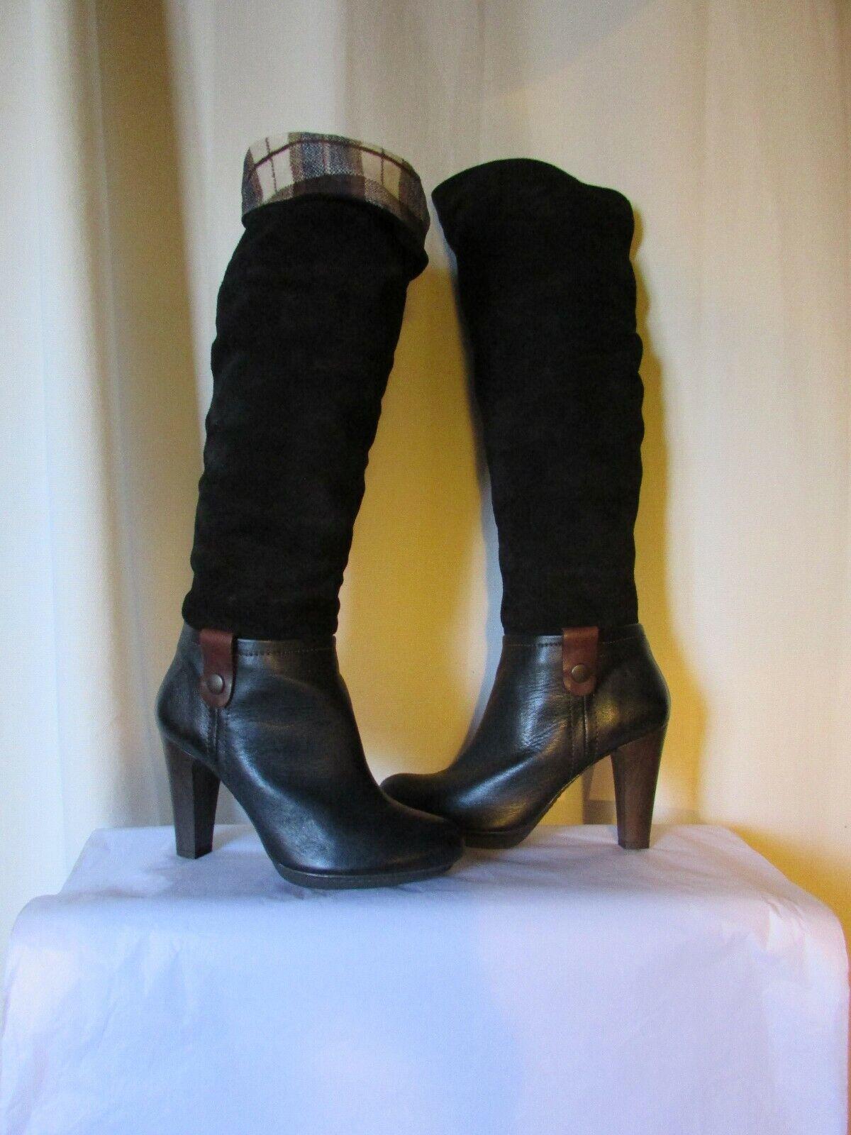 garantito Stivali fantino twiggy pelle scamosciata e pelle pelle pelle nera taglia 38  varie dimensioni