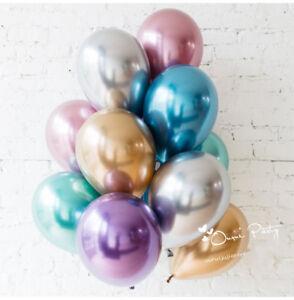10pc-lot-10-034-Chrome-Ballons-Bouquet-Anniversaire-Decor-Mariage-Brillant-YB