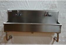 Industrial Wash Up Hand Sink 2 Station 48 Ceramic Valves Stainless Steel